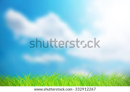 Abstract blurred on sky with cloud background . Blue sky bright with green grass. Nature wallpaper of sky daytime. - stock photo