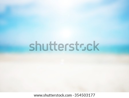 Abstract blurred on vacation summer ocean beach background . Blue water and sky bright. Nature wallpaper of sea daytime. - stock photo