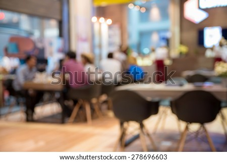 abstract blurred people in food and coffee shop   - stock photo