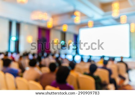 Abstract blurred people in seminar room, education concept - stock photo