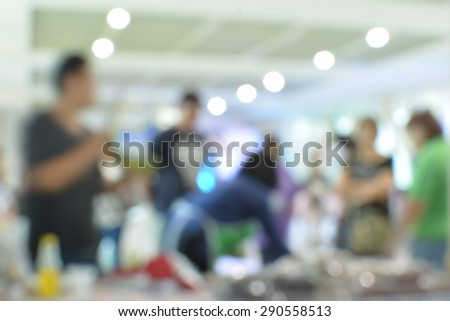 Abstract blurred people walking in shopping - stock photo