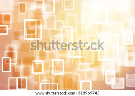 Abstract blurred rectangle and square bokeh cloud computer background. Rectangle and square yellow, orange, red color bokeh motion blurred illustration background. - stock photo