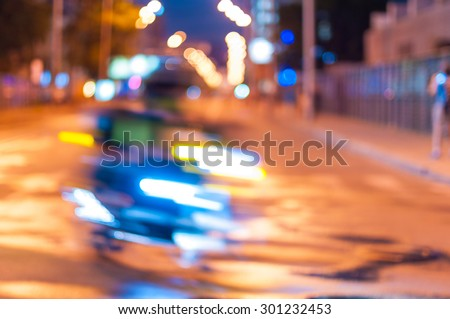Abstract blurred slow motion, biker riding motorbike, driver racing bike, side view, blur movement, summer night road trip, speed concept. - stock photo