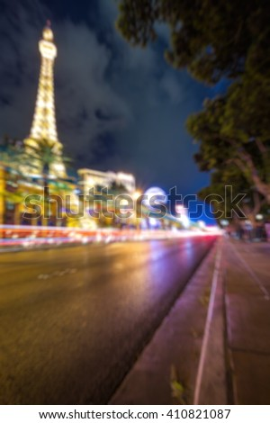 Abstract Blurry Background: City life in Las Vegas - stock photo