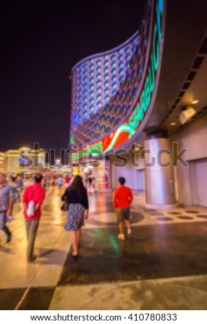 Abstract Blurry Background: Tourist in Las Vegas - stock photo