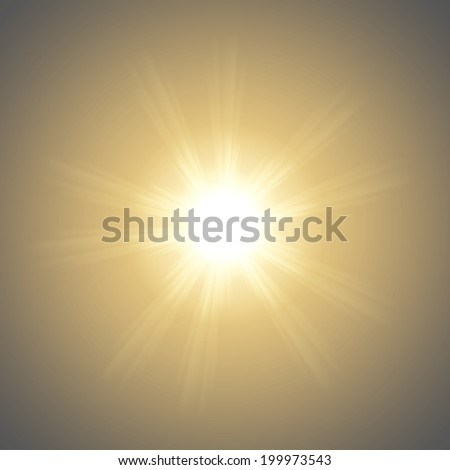 Abstract blurry background with overlying semi transparent circles, light effects and sun burst. . - stock photo