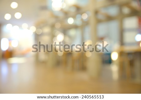Abstract blurry restaurant inside shopping mall - stock photo