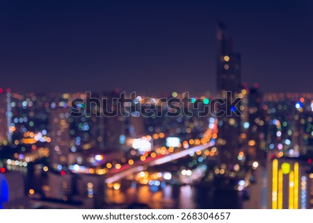 Abstract bokeh Bangkok city night light - stock photo