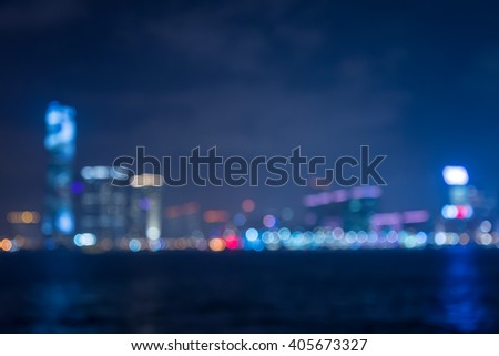 Abstract bokeh cityscape seaside night light background - stock photo