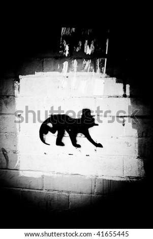 Abstract Brickwall Graffiti - stock photo