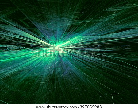 Abstract bright green technology background computer-generated image with glowing stripes and lines, leaving the horizon. Fractal artwork for banners, posters, web design, desktop wallpaper  - stock photo