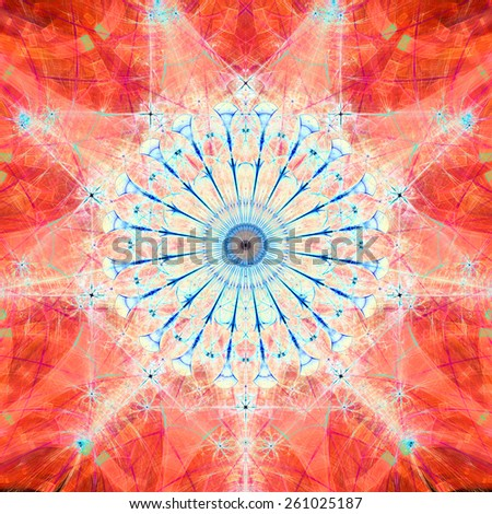 Abstract bright high resolution fractal background with a detailed abstract circular flower/star with many petals in the middle, all in red and blue - stock photo