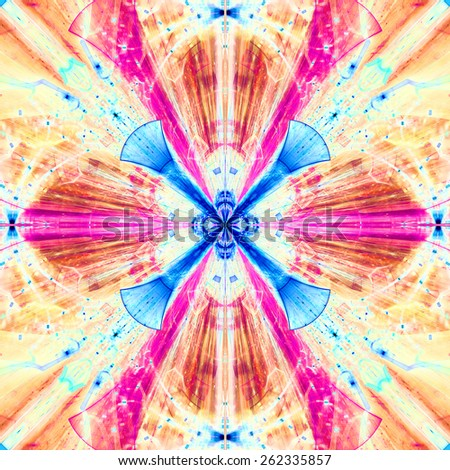 Abstract bright high resolution fractal background with a detailed abstract cross-like flower/star with four petals in the middle, all in pink,red,blue,yellow - stock photo