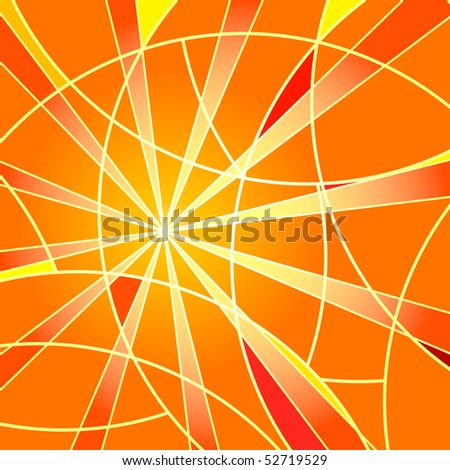 Abstract bright orange mosaic background with rays - stock photo