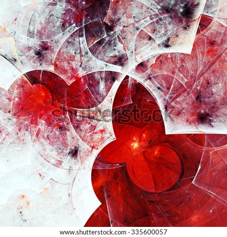 Abstract bright painting winter  texture. White and red color pattern. Modern futuristic Christmas background. Fractal artwork for creative graphic design - stock photo