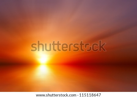 Abstract bright red sunset - stock photo