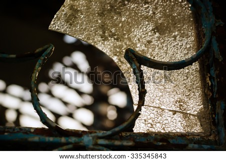 Abstract broken glass. The ruins of the church. Cyprus - stock photo