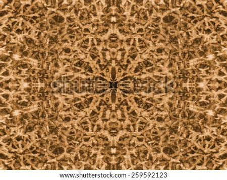 Abstract brown and yellow kaleidoscope fur pattern background - stock photo