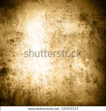 abstract brown background, white center and sepia black border with gradient color and spatter stain, vintage grunge background texture design of old worn paper with rich warm color, distressed page - stock photo