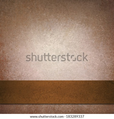 abstract brown background with elegant dark brown leather ribbon or stripe illustration design, beige background template with dark brown border, web graphic art page - stock photo