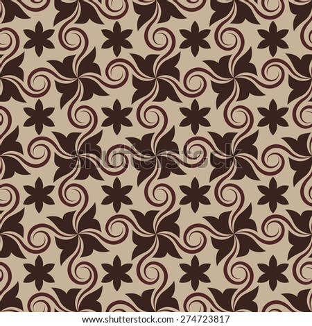 Abstract brown seamless pattern with curls. - stock photo