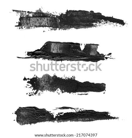 Abstract brush black acrylic - stock photo