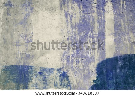 Abstract brushed blue concrete surface. Peeled. Vintage effect. - stock photo