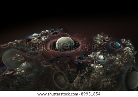 abstract bubble planets - stock photo