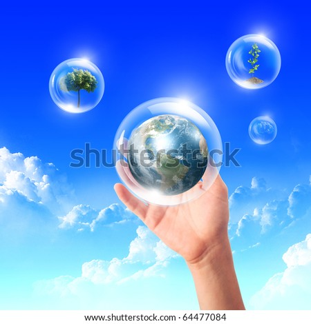 Abstract bubbles against the blue sky and clouds. Symbol of environmental protection. Collage. - stock photo