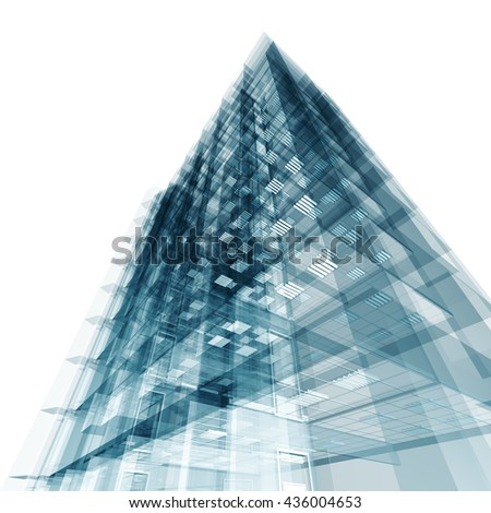 Abstract building. Architecture design and model my own. 3D rendering - stock photo