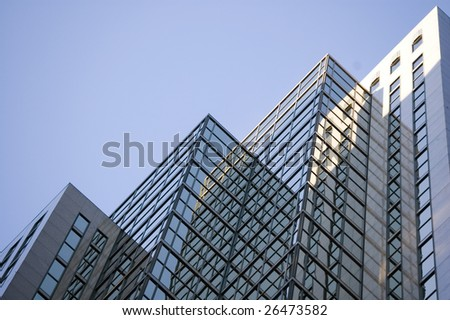 abstract building background  /  reflection on the glass for design - stock photo
