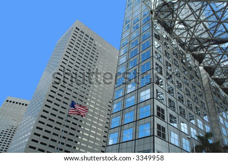 Abstract Building Design and a Flag - stock photo