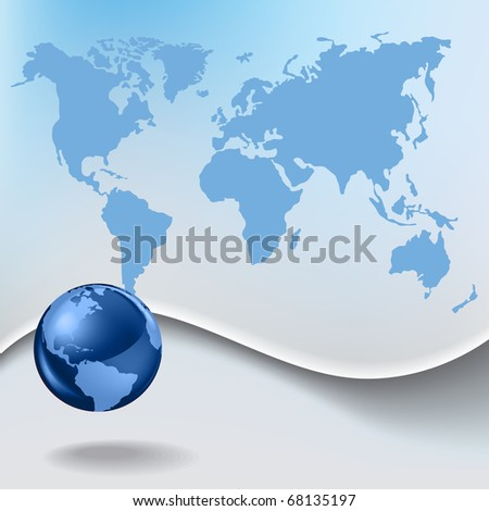 Abstract business background with globe and earth map - stock photo
