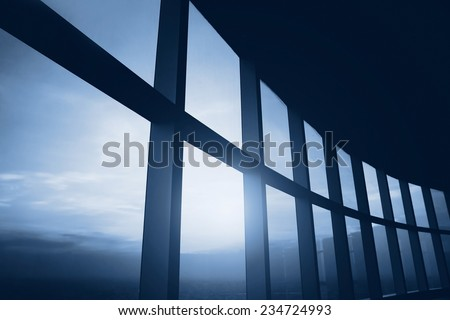 abstract business interior, blue - stock photo