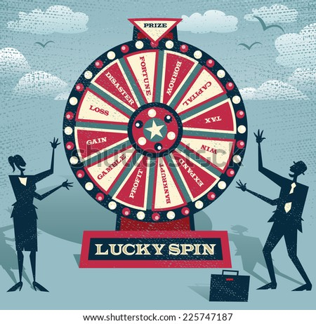 Abstract Business people with Financial Wheel of Fortune. Abstract Business take the ultimate gamble on the business futures by playing on the Financial Wheel of Fortune.  - stock photo