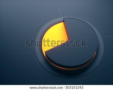 Abstract business pie chart black-orange hi-tech - stock photo