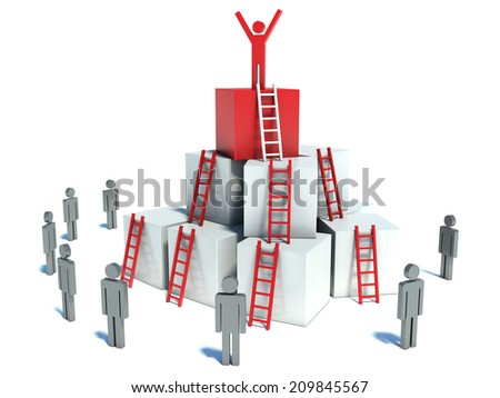abstract business progress, development, success, leadership and competition concept - stock photo