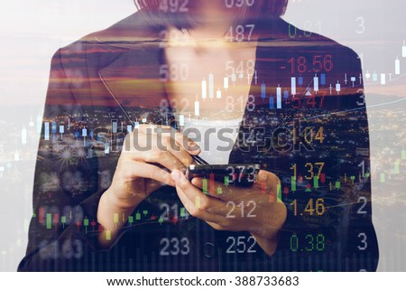 Abstract business stock communication background with hand holding smart phone and pen. - stock photo