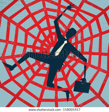 Abstract Businessman caught in a Spiders Web. Great illustration of Retro styled Abstract Businessman caught up in a bureaucratic Spiders Web. - stock photo