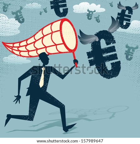 Abstract Businessman chasing and netting Euros. Great illustration of Retro styled Businessman catching all the money with his giant cash catching net. - stock photo