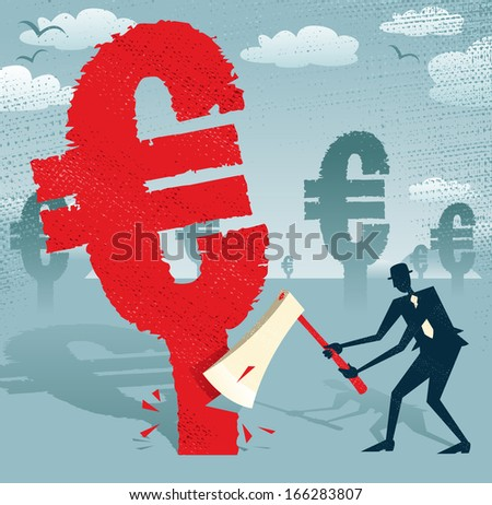 Abstract Businessman cuts down the Euro.  Great illustration of Retro styled Businessman cutting down a giant European Euro Tree with his razor sharp Axe.  - stock photo