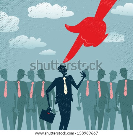 Abstract Businessman is Picked and Selected. Great illustration of Retro styled Businessman picked out from the crowd by a huge people picking red hand. All recruitment Agencies need one of these!  - stock photo