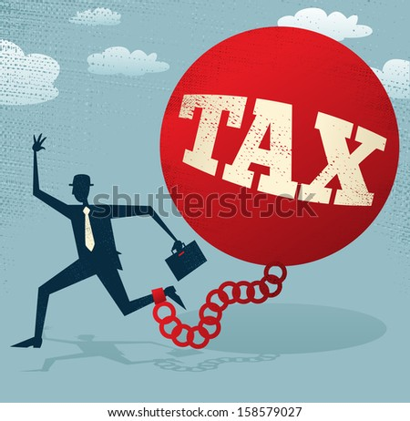 Abstract Businessman locked in a TAX Ball and Chain. Vector illustration of Retro styled Abstract Businessman caught up in a bureaucratic chain and ball. - stock photo