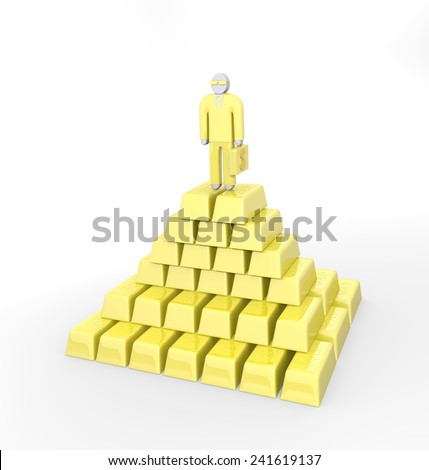 Abstract businessman standing on a top of golden pyramid - stock photo