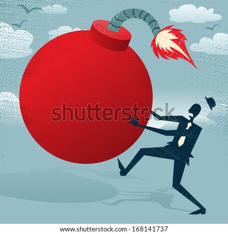 Abstract Businessman with Huge Bomb.  Great illustration of Retro styled Businessman running for his dear life to get rid of the gigantic metaphorical bomb. - stock photo