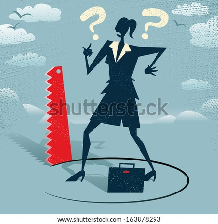 Abstract Businesswoman has Ground cut beneath her. Retro styled Businessman who looks extremely worried as a rival in business is cutting away the floor beneath him. Outrageous behavior indeed!. - stock photo