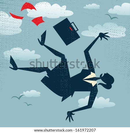 Abstract Businesswoman's career is in Free fall.  Great illustration of Retro styled Businesswoman is in Free fall as her career takes a fall. - stock photo