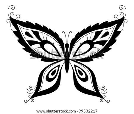 Abstract butterfly, black contour silhouettes on white background - stock photo
