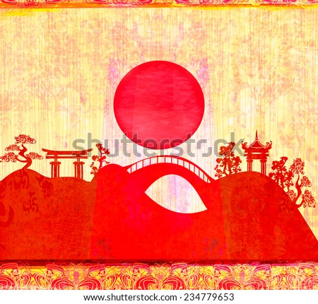 Abstract card with Asian buildings  - stock photo