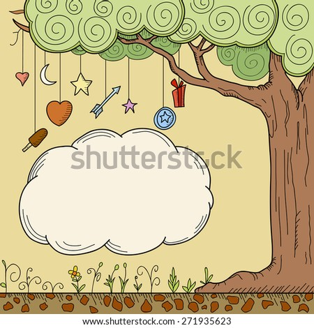 Abstract cartoon tree with place for your text. - stock photo
